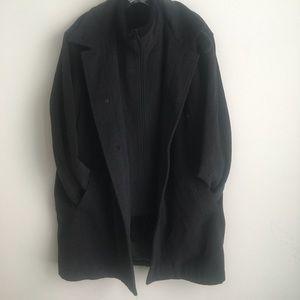Perry Ellis Portfolio Ribbed Collar Wool Peacoat
